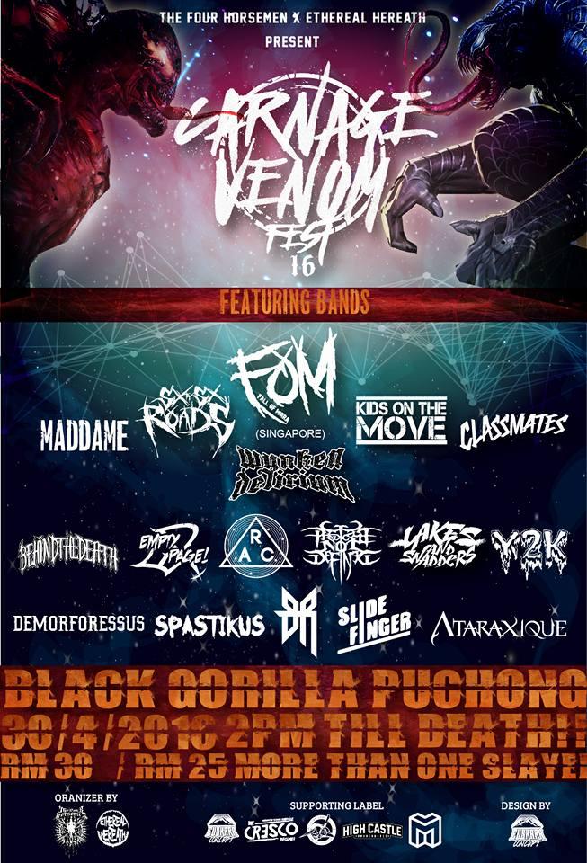 CARNAGE // VENOMS FESTIVAL 2016 LIVE AT BALACK GORRILA, PUCHONG