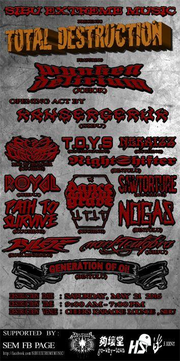 Sibu Extreme Music Present WYNKEN DELIRIUM (MY) Live at Total Destruction 2016 , Sibu Sarawak