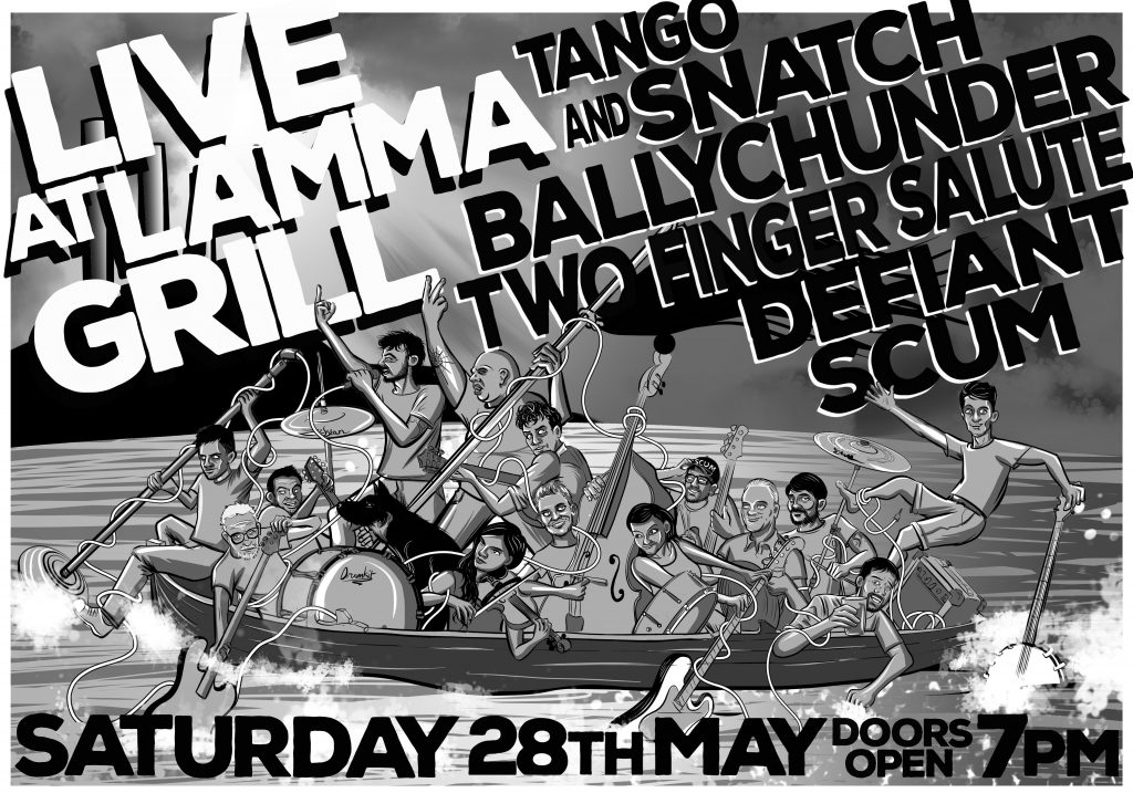 Defiant Scum, Tango and Snatch, 2 Finger Salute, Ballychunder - Live at Lamma Grill